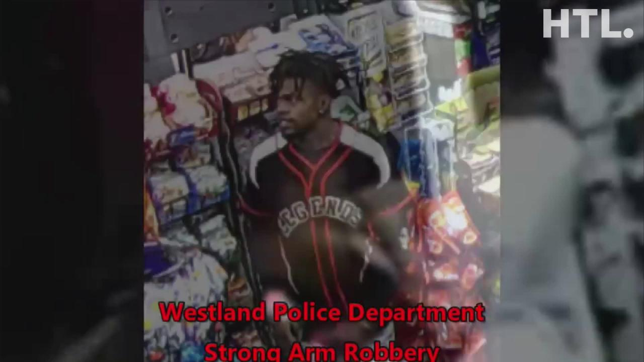 The robbery, captured by a security video, took place at a BP gas station at Wayne Road and Warren in Westland.