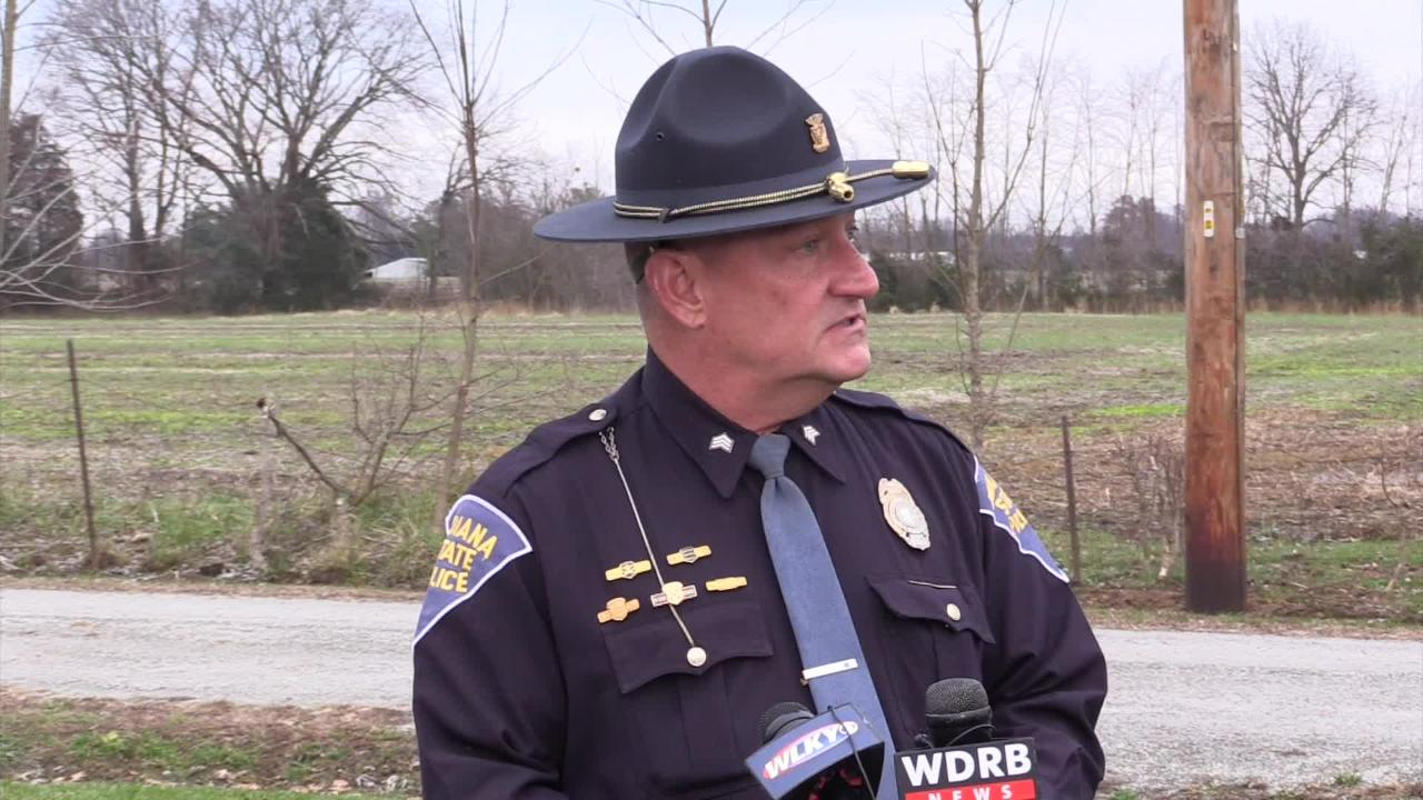 ISP Sgt. Jerry Goodin briefs the media on the plane crash near Memphis, Indiana, on Friday morning.