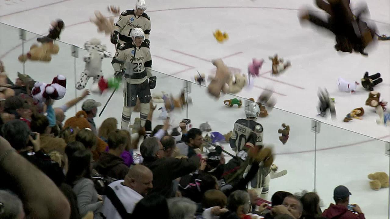 Hershey Bears fans covered the ice with 25,000 teddy bears during a 2017 game