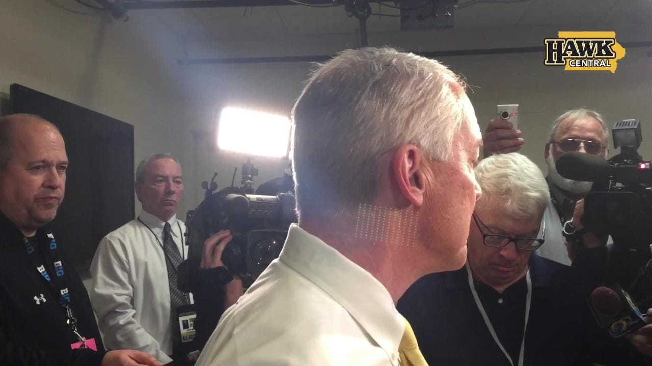Iowa athletics director Gary Barta met reporters to discuss the two-game suspension of broadcaster Gary Dolphin.
