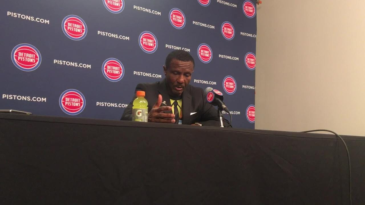 Detroit Pistons coach Dwane Casey compliments 3-point defense, fast start in 107-88 victory over Chicago Bulls at LCA, Nov. 30, 2018.