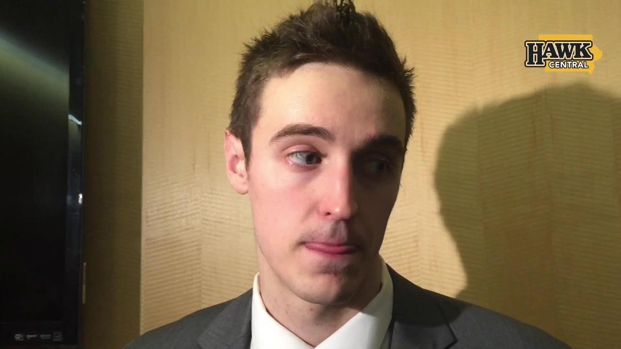 Iowa forward Nicholas Baer discusses late shortfalls in a 72-66 loss to Wisconsin.
