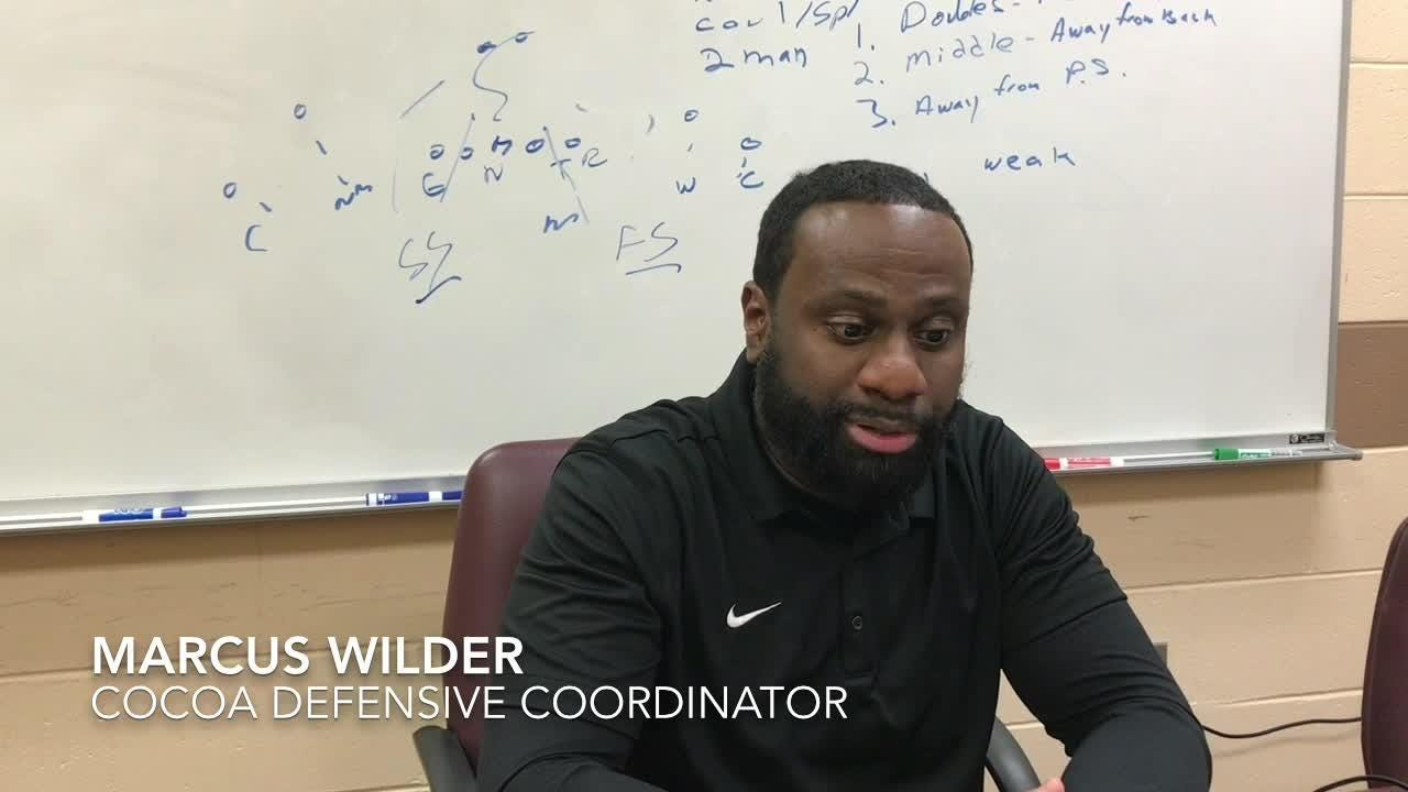 Cocoa's Defensive Coordinator Marcus Wilder talks about shutting University in the last 20 minutes of the game.