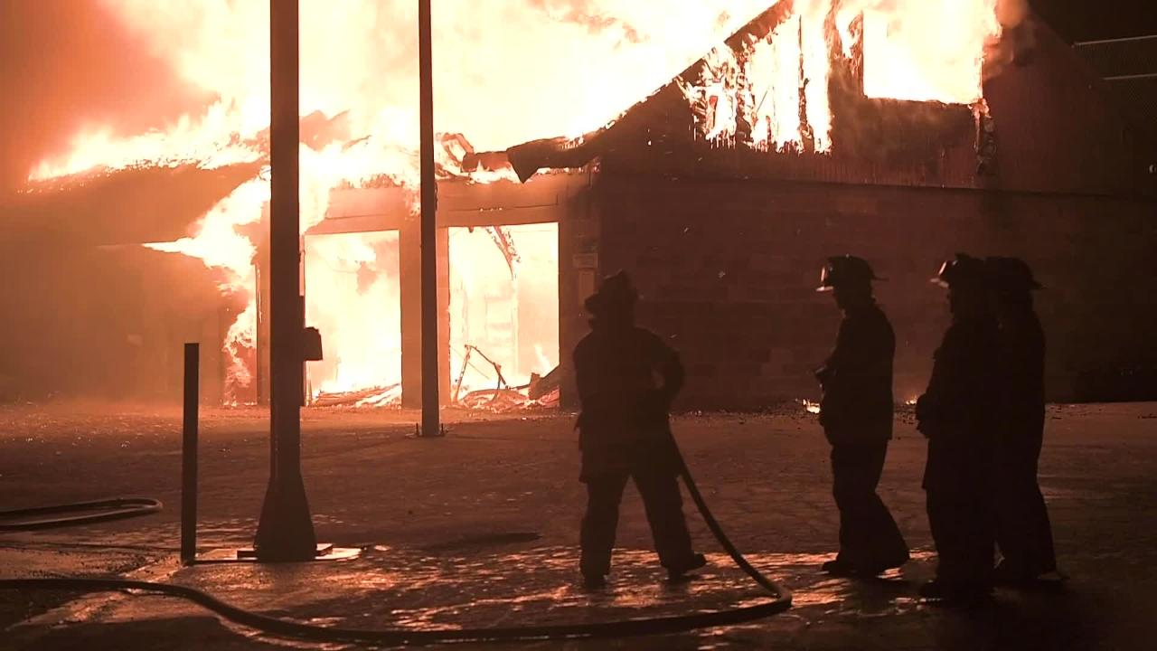 Cedar City Fire Department ignited a controlled burn of the Bicentennial Park building Friday night. CCFD used the burn as a training exercise.