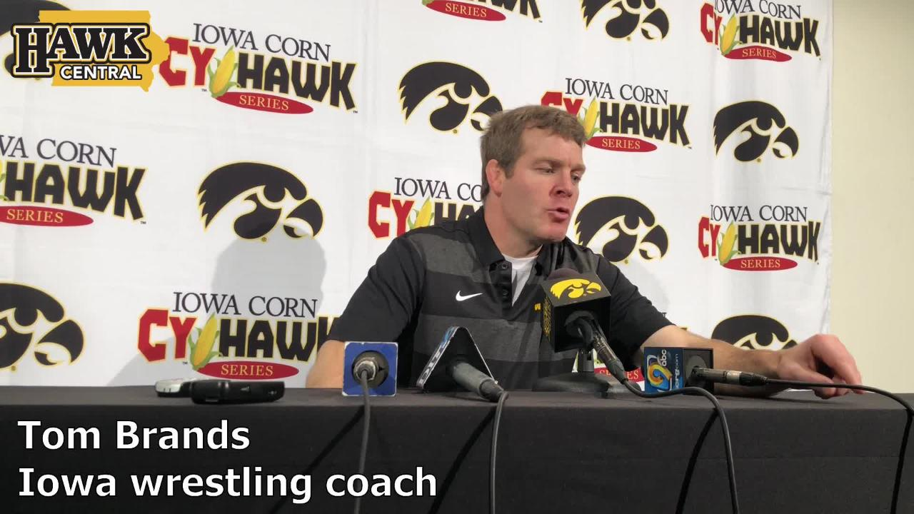 Iowa coach Tom Brands praises heavyweight Sam Stoll after beating Iowa State on Saturday, 19-18, at Carver-Hawkeye Arena.