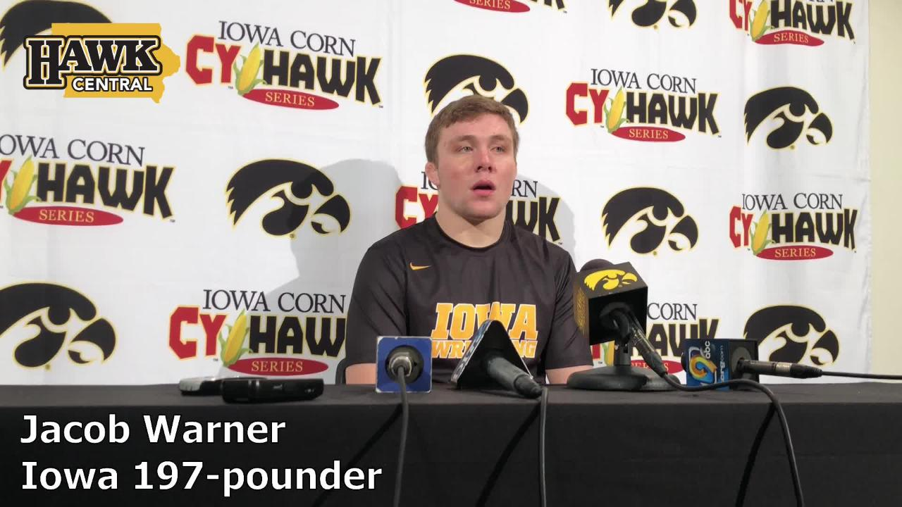 Iowa's Jacob Warner beat Iowa State's Willie Miklus, 5-4, in his collegiate debut on Saturday. The Hawkeyes won the dual meet, 19-18.