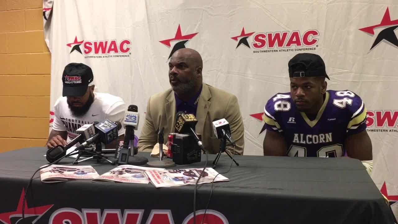 Alcorn State head coach Fred McNair answers questions after winning the SWAC championship