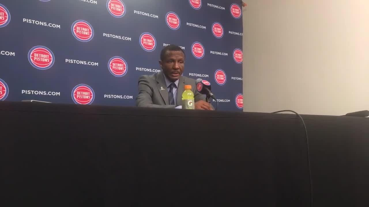 Pistons coach Dwane Casey reacts to the team's fifth straight win, 111-102 over the Warriors, Dec. 1, 2018 at LCA.