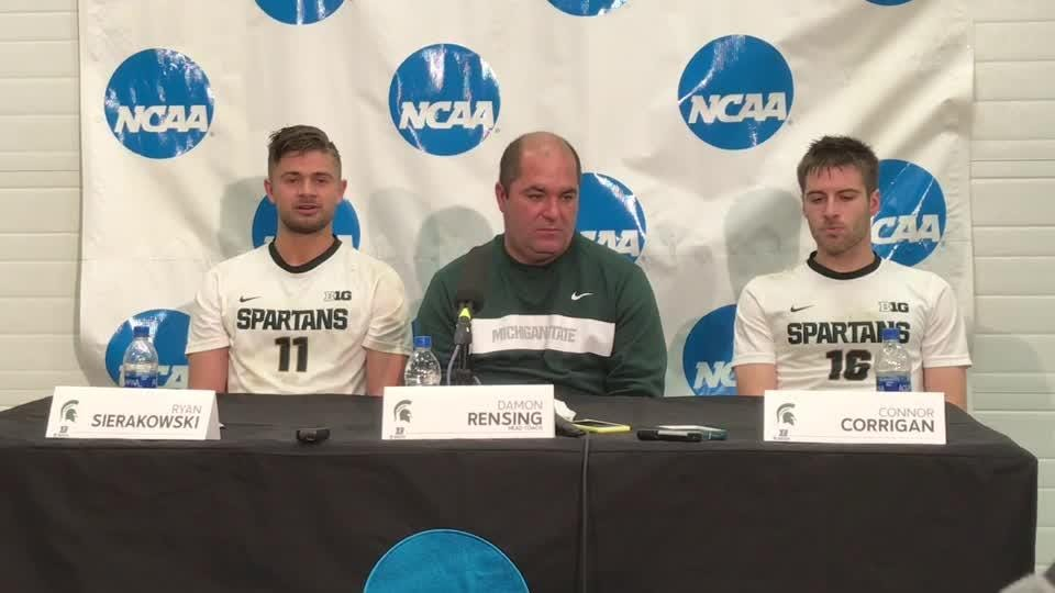 Hear from Michigan State soccer coach Damon Rensing and players Ryan Sierakowski and Connor Corrigan after beating James Madison.