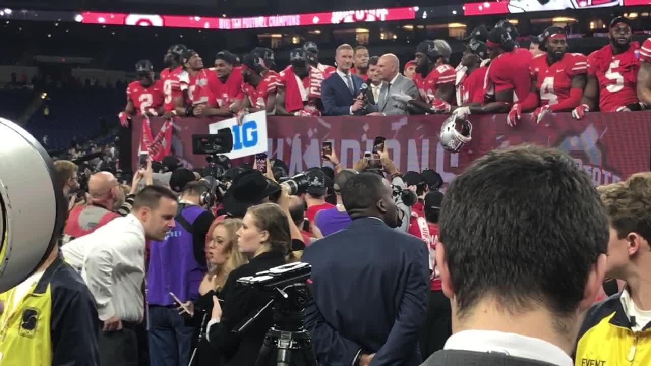 The Buckeyes receive their championship hardware