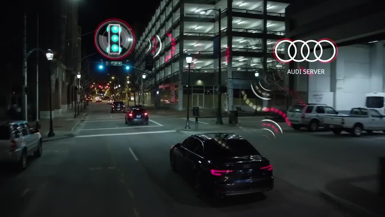 A promotional video shows how Audi's 'time-to-green' stoplight feature works.