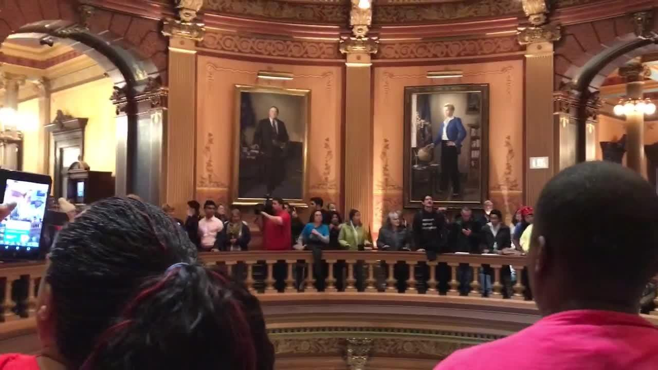 A group of protesters gathered at the Capitol rotunda on Dec. 4 to protest the lame duck session.