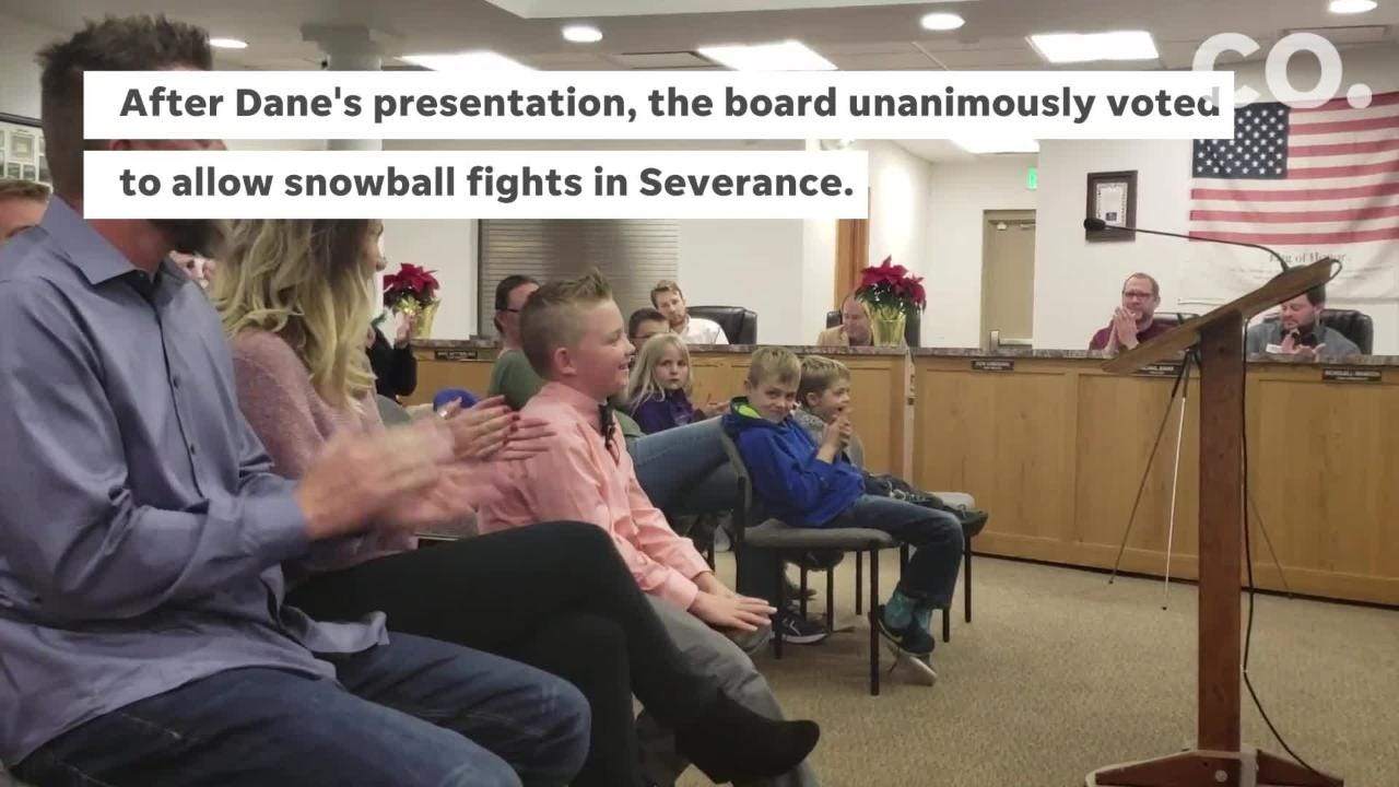 Dane Best, 9, gave a presentation to the Severance Town Board advocating for the legalization of snowball fights, and the board unanimously approved the law change.