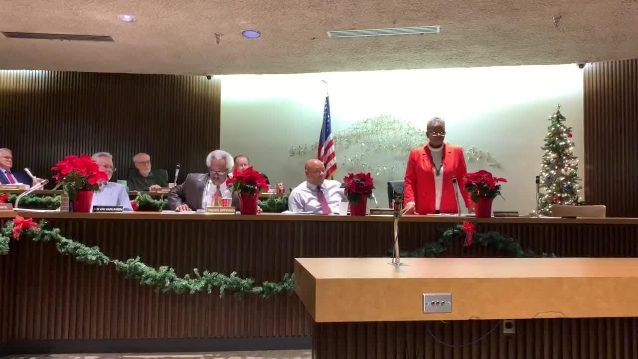 Sixth ward councilwoman Garnetta Pender, who is retiring at the end of the year, addresses the other council members in attendance December 4, 2018.