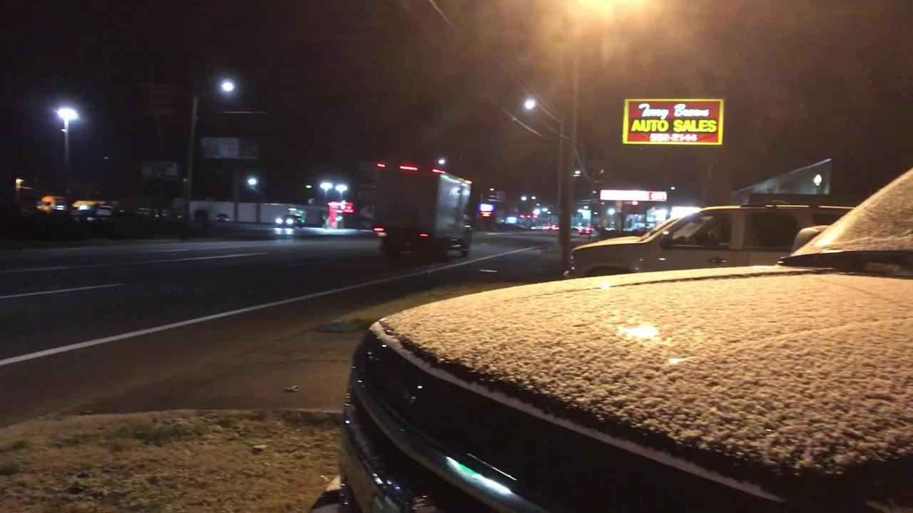 Snow showers fell across Montgomery County early Wednesday but were clearing up as sun rose.