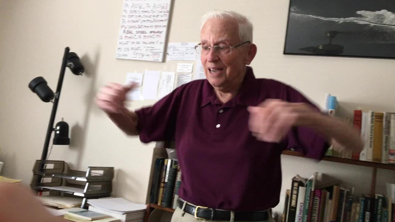Don Rapp, juggler and former FSU professor, sings a rap he wrote more than 30 years ago for his ill father-in-law to try to get him to smile.