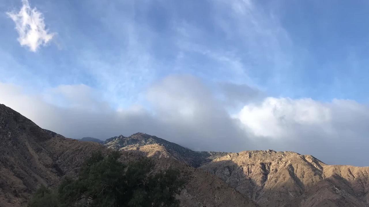 Clouds form near the San Jacinto Mountains ahead of a Nov. 29, 2018 rainstorm.