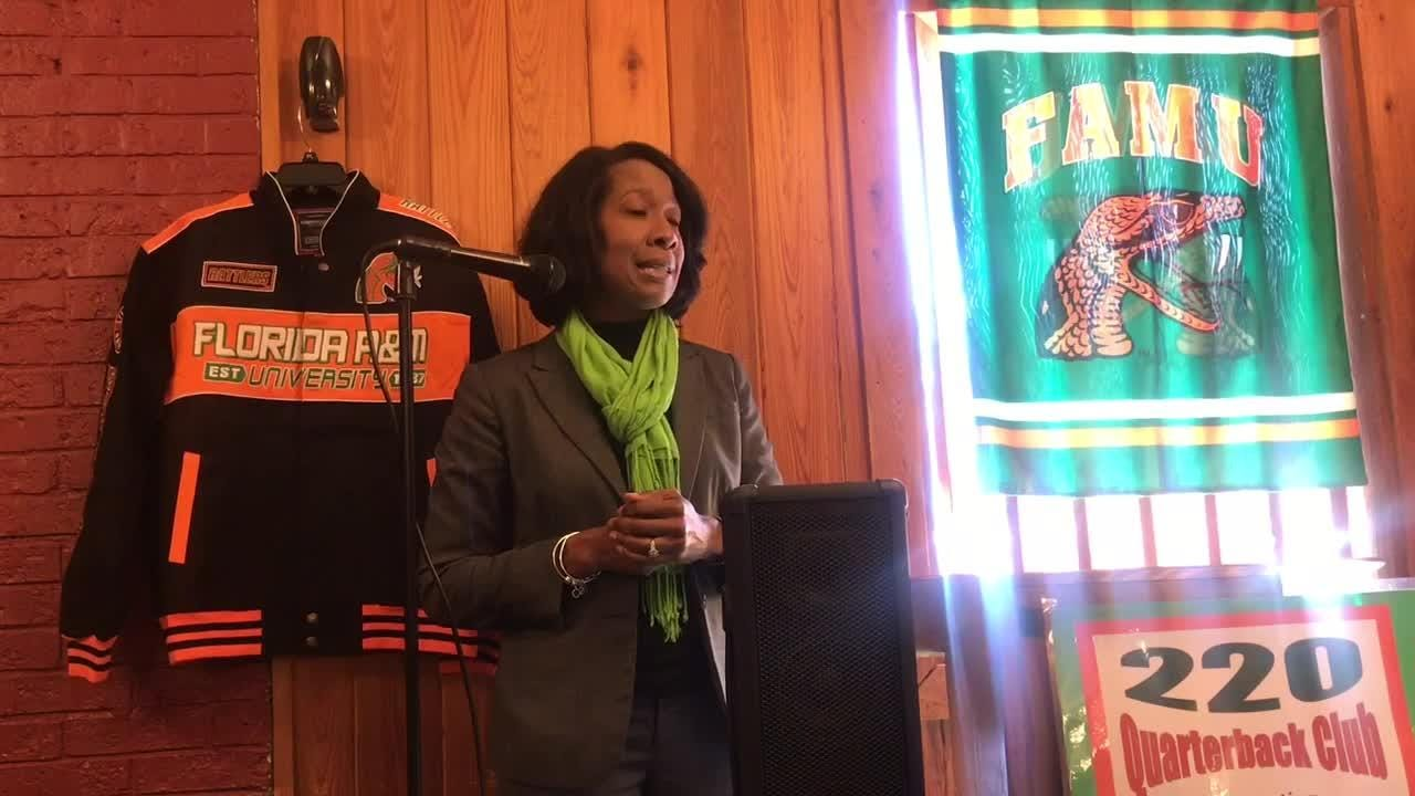 WATCH: FAMU deputy AD Dr. Genyne Boston shares her bio during opening remarks at the 220 QB Club's luncheon.
