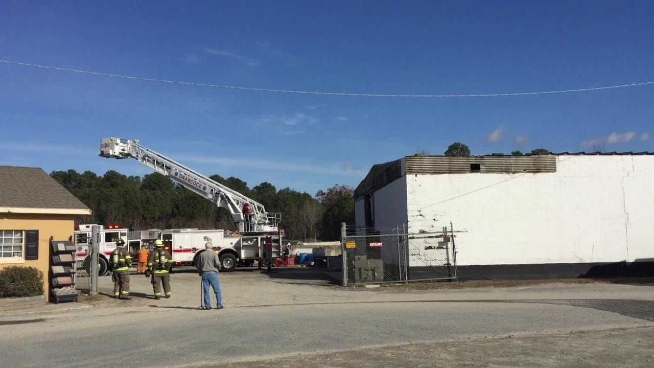 Firefighters responded Thursday to a report of a commercial structure fire at T&W Block in Onley, VIrginia.