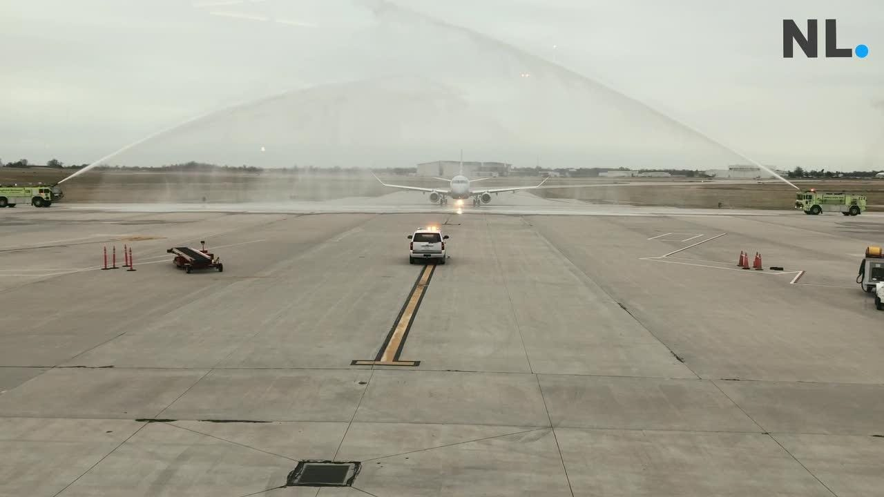 Water cannons greeted passengers on a flight from Dallas to the Springfield-Branson National Airport celebrating the airports 1 millionth passenger this year.