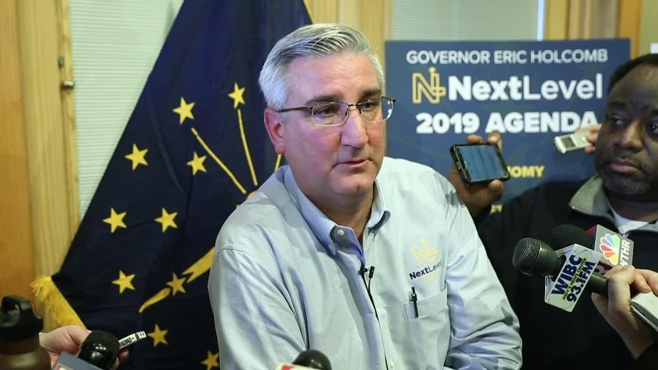 Indiana Governor Eric Holcomb answers media questions about school safety and inclusion of gender identity in a potential hate crimes law.