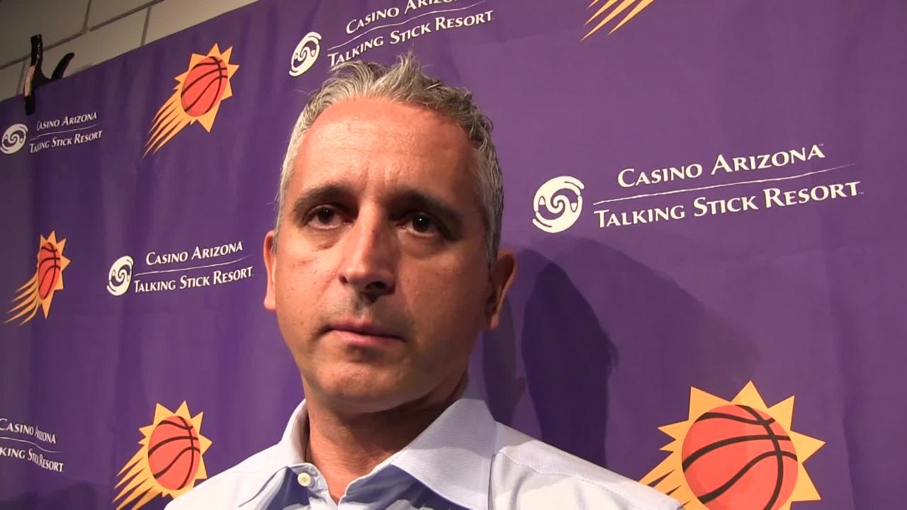 Phoenix Suns coach Igor Kokoskov gives his postgame talk after Thursday's 108-86 loss at Portland in which they trailed by as many as 31 points.