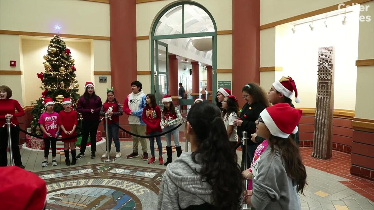 More than 10 school choirs are among the musical acts that are filling City Hall with holiday music. Go to www.cctexas.com/holiday for a list.