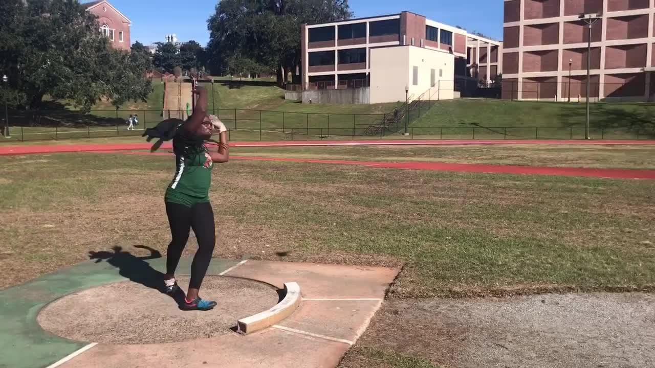 WATCH: Rattlers phenom Taylor Gorum shows her strength during practice with the hammer throw.