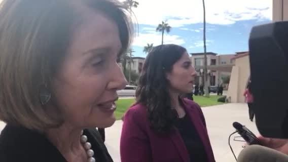 House Minority Leader Nancy Pelosi speaks before former Congressman Ed Pastor's funeral at St. Francis Xavier Catholic Church in Phoenix Dec. 7, 2018.