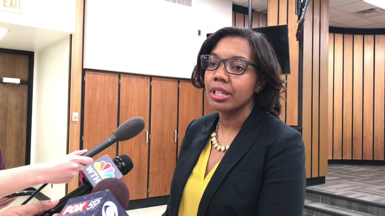 Aleesia Johnson talks to reporters after board of commissioners names her interim superintendent of IPS.