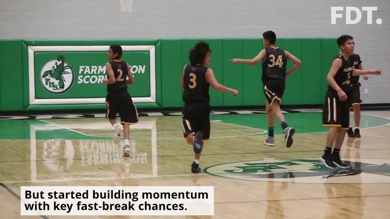 Navajo Prep builds momentum with fast-break scoring chances Friday at Scorpion Arena in Farmington.