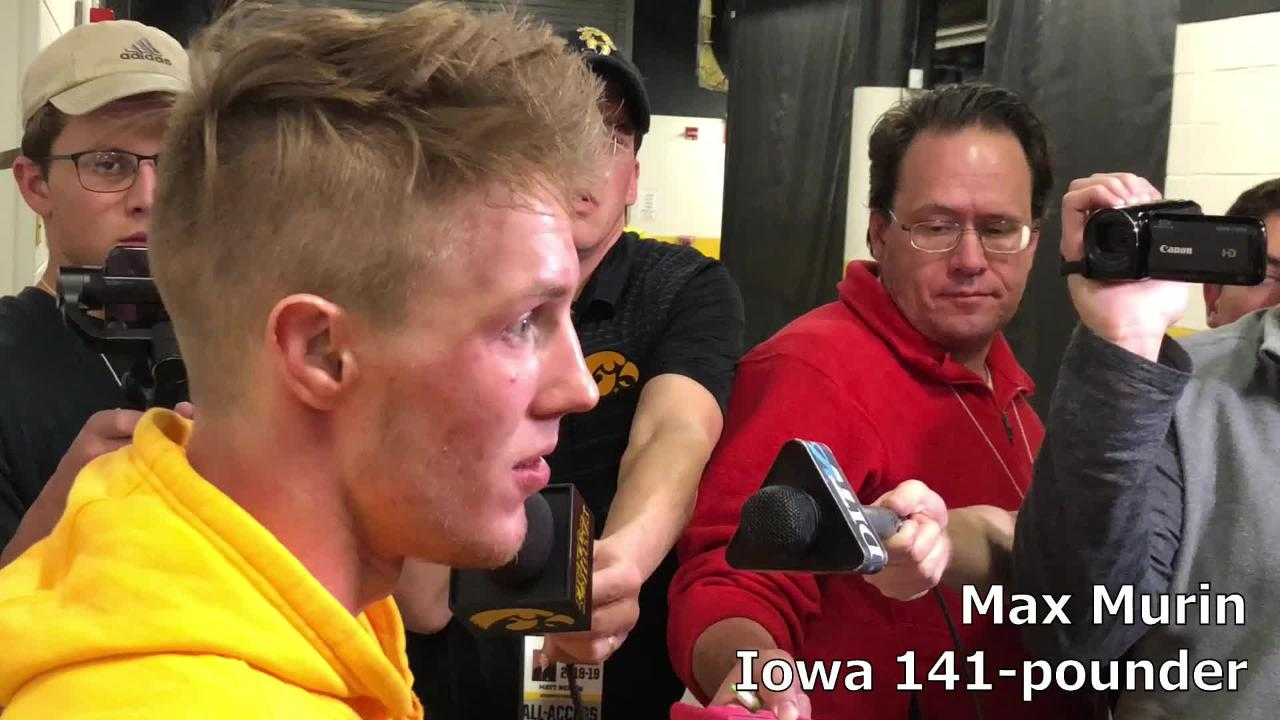 Iowa's Max Murin beat Lehigh's Dan Moran 14-3 on Saturday. He felt like he's improved after losing to Iowa State's Ian Parker last week.