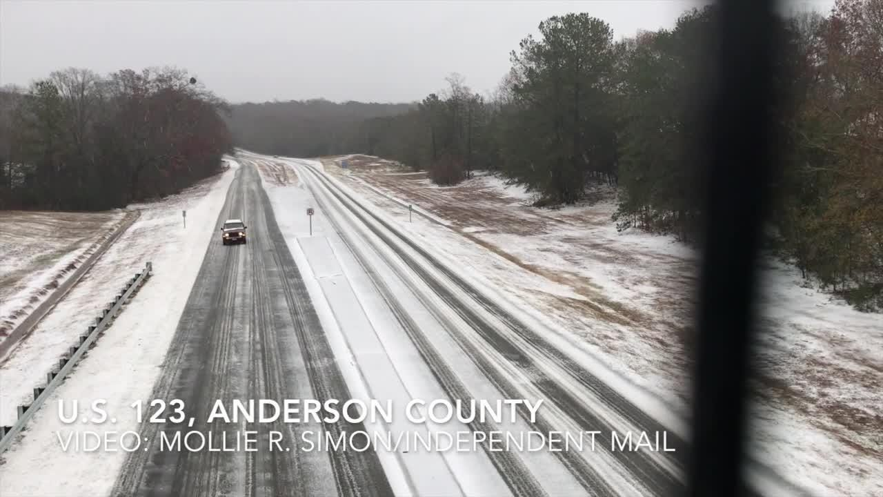 Sights and sounds of winter on Sunday, Dec. 9, 2018, after snow, sleet and rain fell on Anderson County.