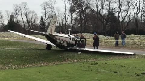 Officials on scene after a small plane made an emergency landing at the Paramus Golf Course in Paramus, NJ