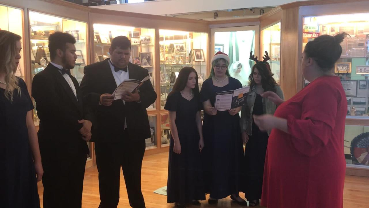 Deming High School Choir performs on the second floor of the Deming-Luna-Mimbres Museum.