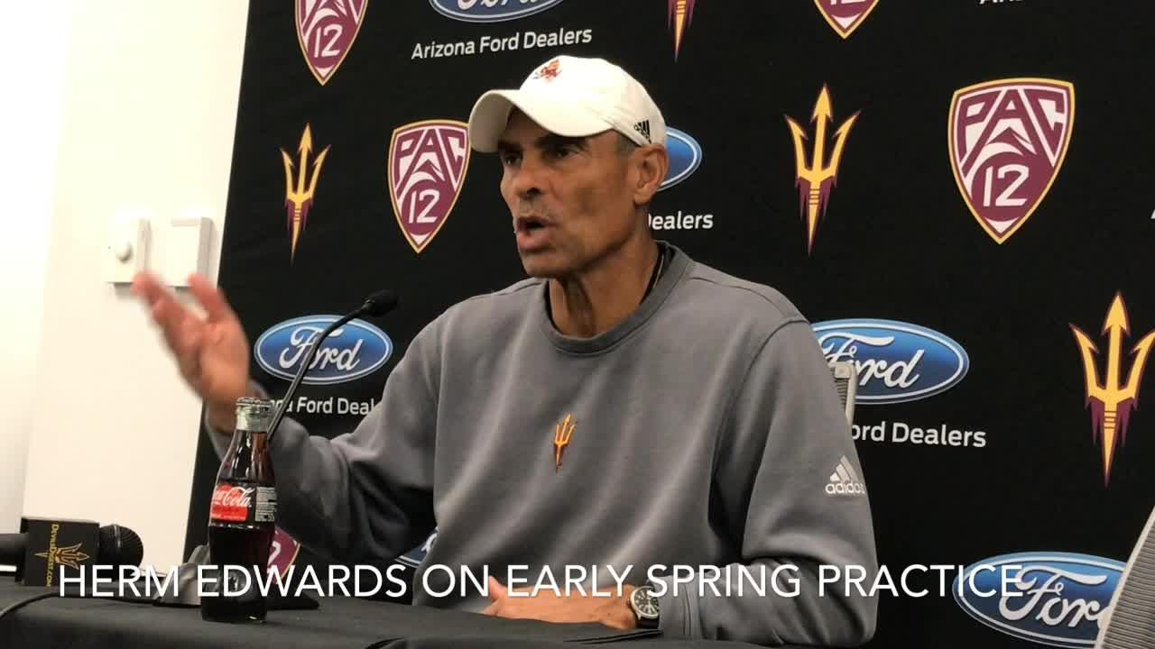 Herm Edwards talks about moving  ASU's spring practices up to February.