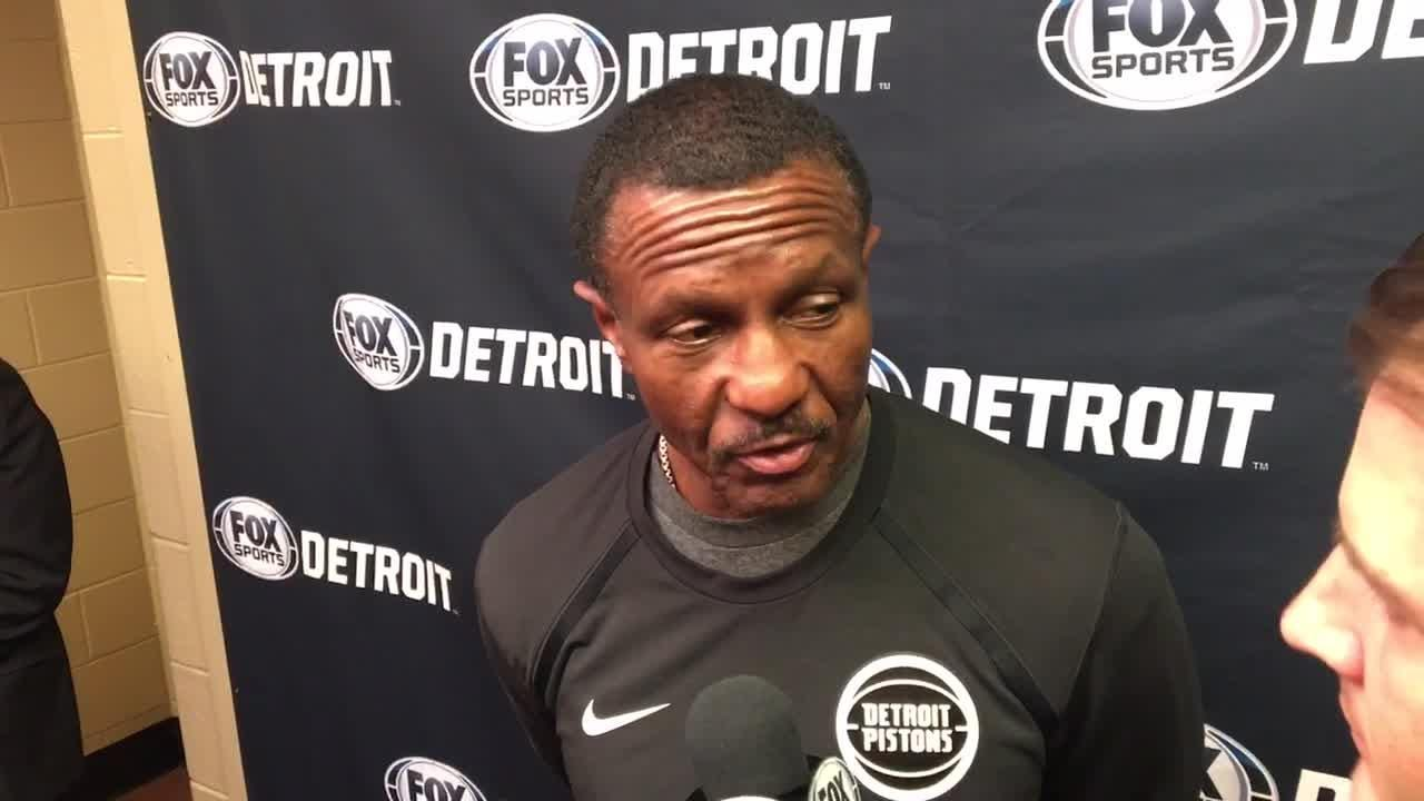Pistons coach Dwane Casey announces Blake Griffin will be out against Philadelphia 76ers and explains why, Dec. 10, 2018 in Philadelphia.