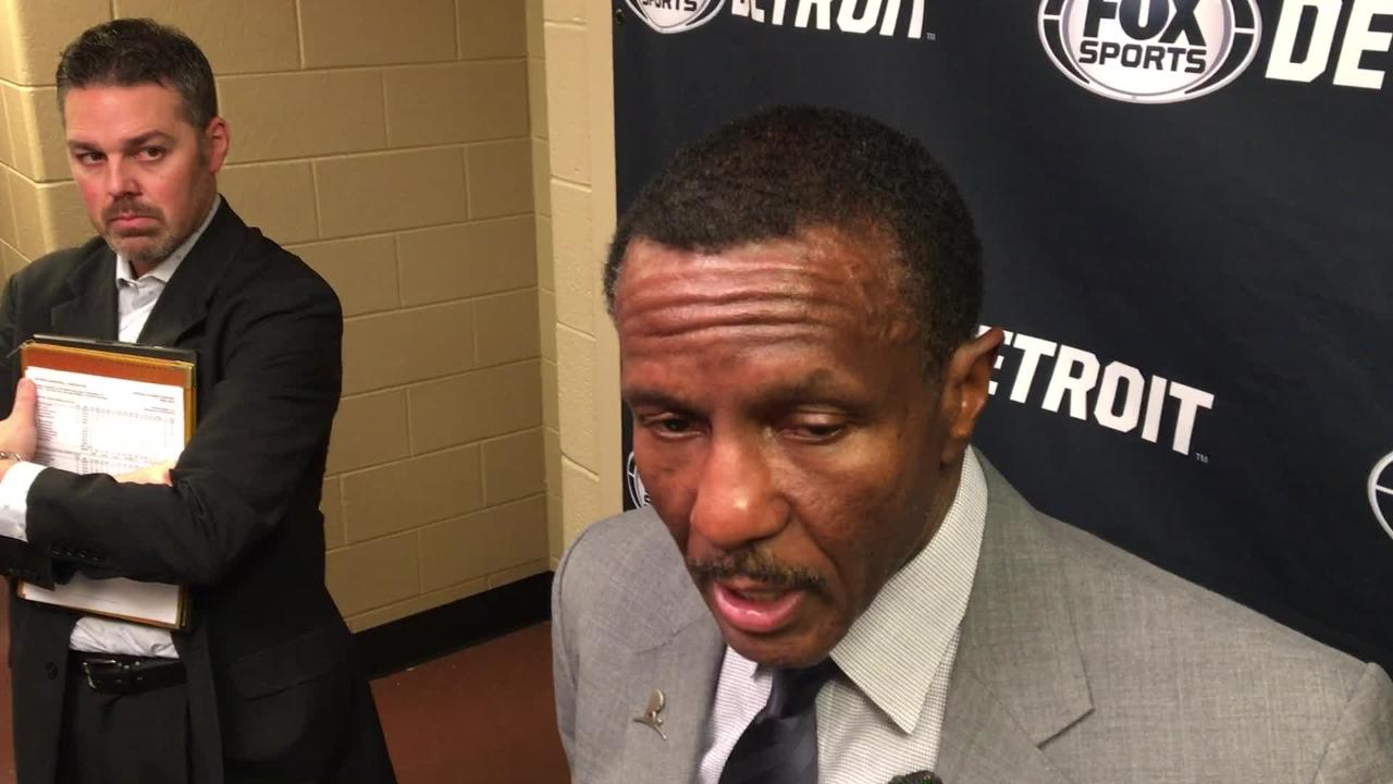 """Dwane Casey says Luke Kennard played well & Andre Drummond didn't get caught up in the """"bullcrap"""" with Joel Embiid in loss to 76ers, Dec. 10, 2018."""