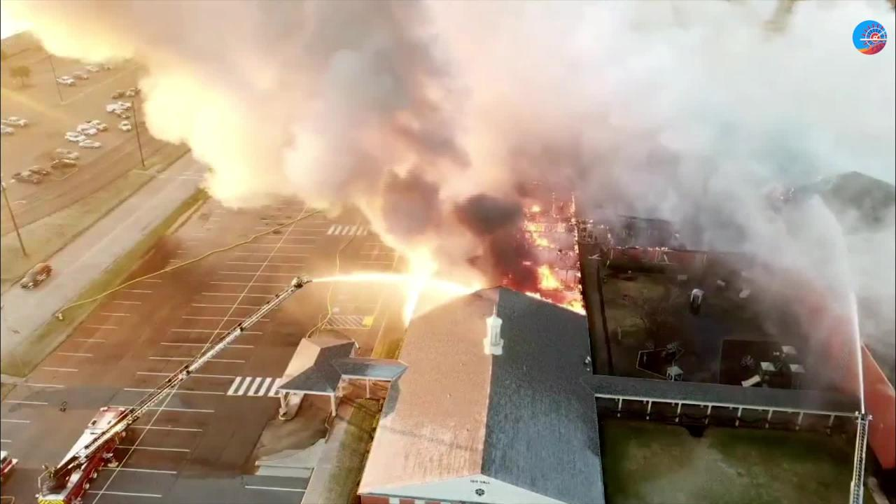Drone footage of the First Baptist Bossier fire from LaMichael Howard.