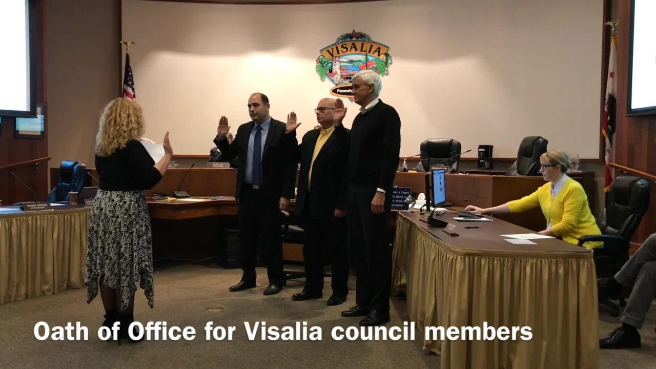 Brian Poochigian, Steve Nelsen and Greg Collins take Visalia council Oath of Office.
