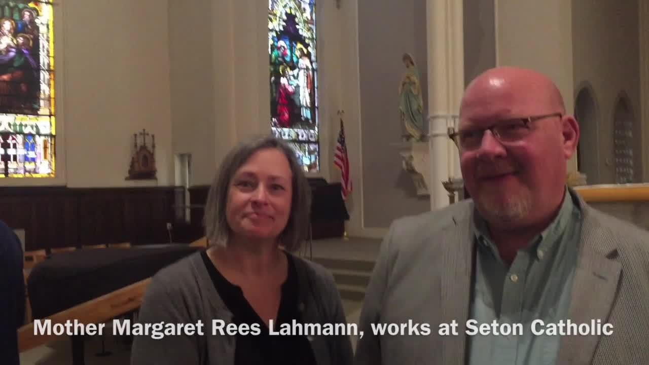 Seton Catholic senior Joseph Lahmann, Centerville senior Molly Coomes, surprised as recipients of the Lilly Scholarship