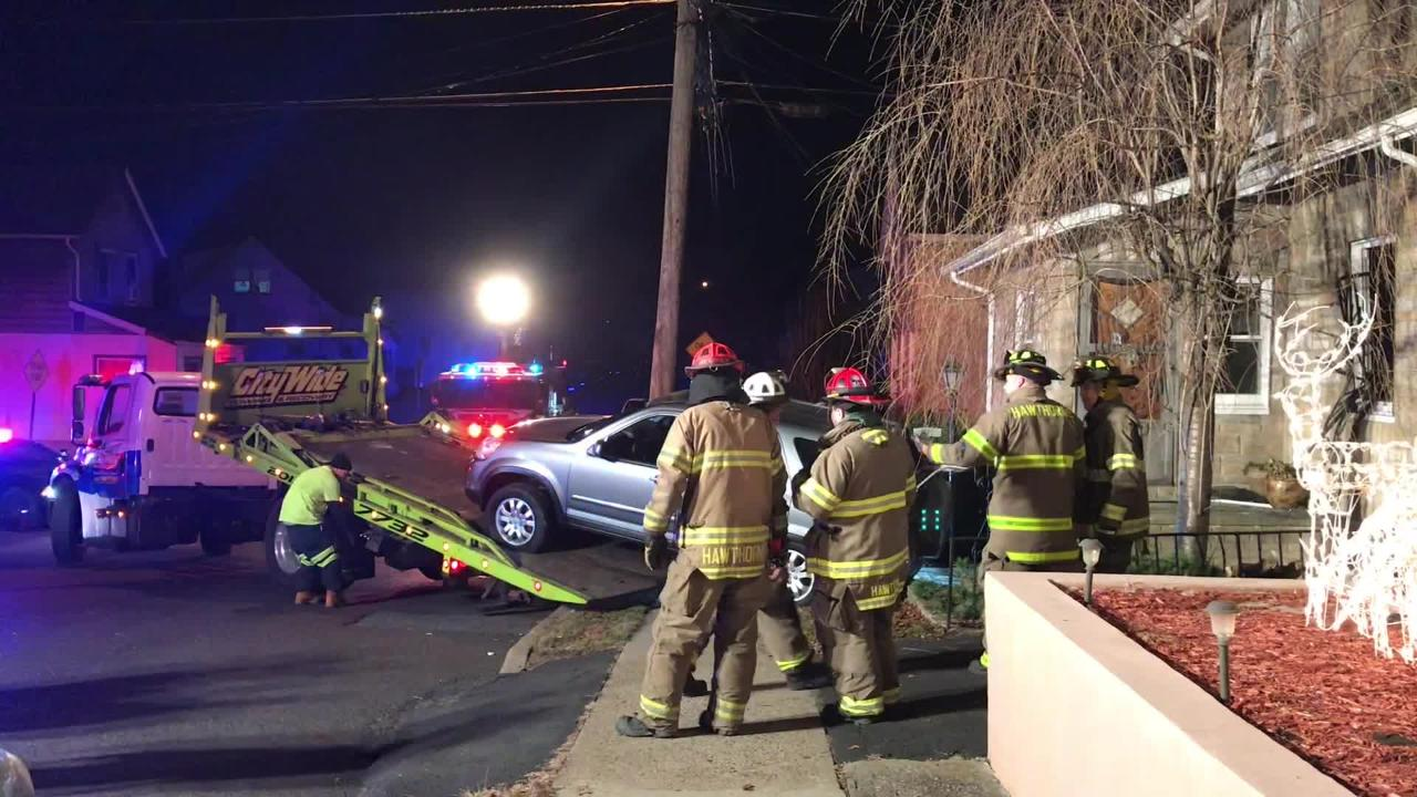 A car crashed into a house in Hawthorne Dec. 11, 2018.