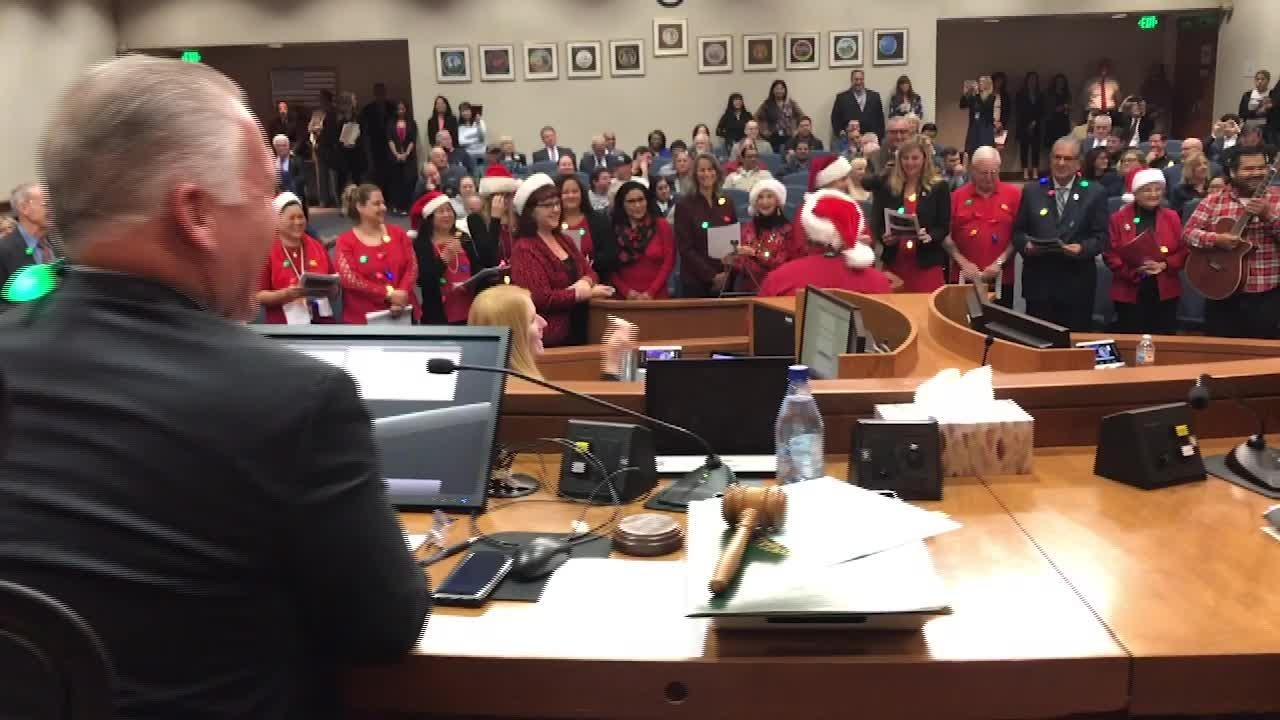 Supervisor Peter Foy was recognized with a song Tuesday at his last meeting as a member of the Board of Supervisors.