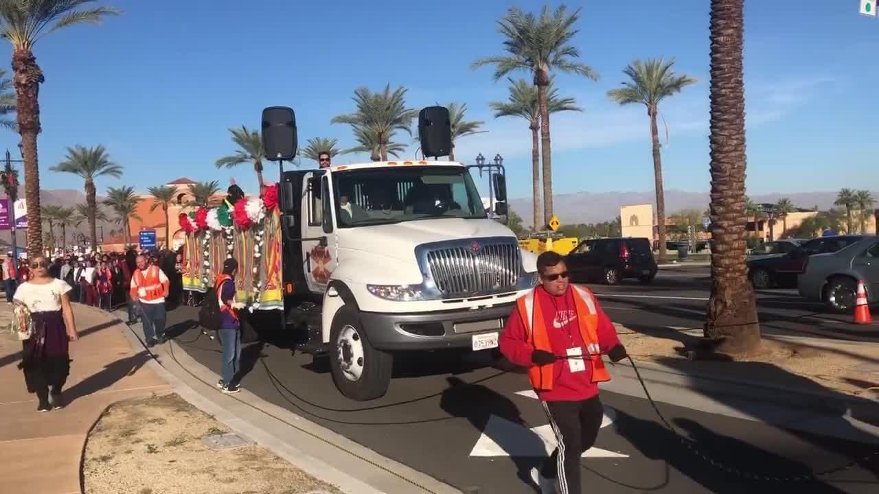 Hundreds of Catholics are walking from Palm Springs to Coachella in remembrance of the Virgen de Guadalupe