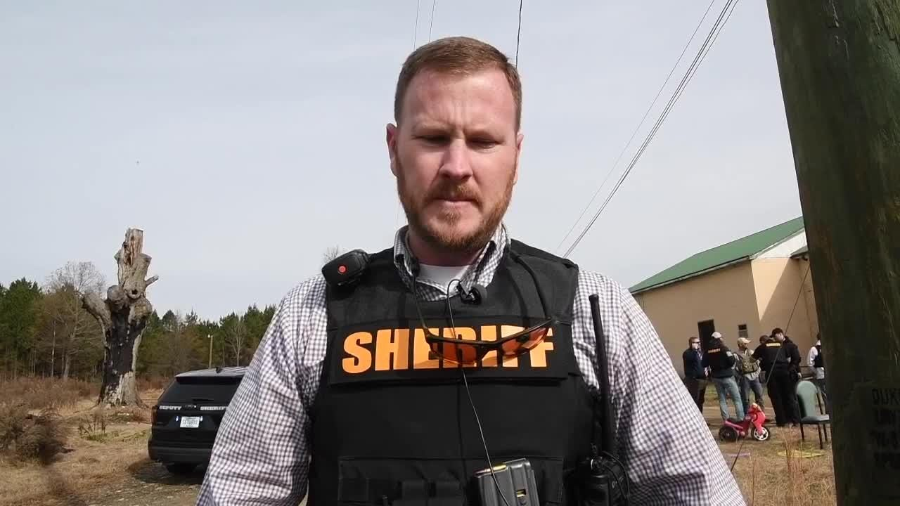 Anderson County Sheriff Chad McBride and Belton Police Chief Tommy Clamp speak about the incident involving a deputy, who was struck by a suspect being served an arrest warrant on Brazeale Street in Belton.