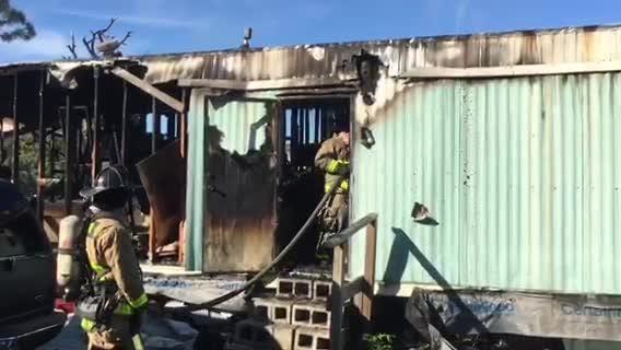 Three mobile homes caught fire around 1 p.m. Wednesday.