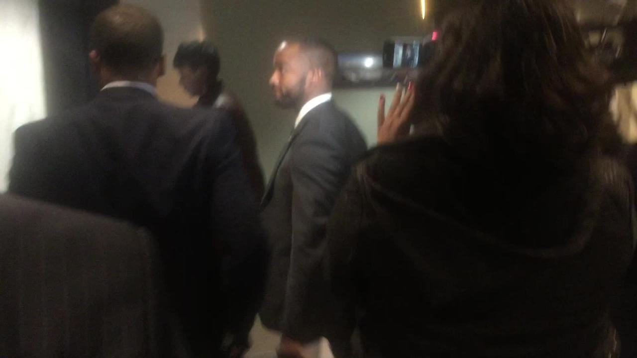 Perkins spoke for less than a minute with the media after meeting with Mayor Ollie Tyler Wednesday.