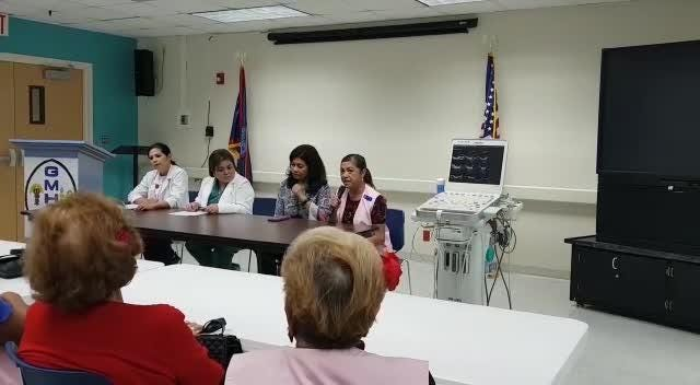 Guam Memorial Hospital Volunteers Association President Joyce Crisostomo speaks about the donation of equipment on Dec. 13, 2018.
