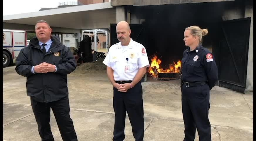 Fire Marshall fire prevention specialist Road Pierce, Tallahassee Fire Department Deputy Chief Richard Jones, and social media liaison Sarah Cooksey talk about fire holiday fire safety.