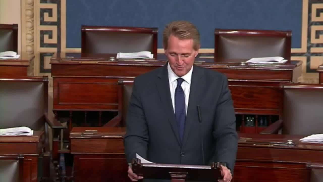 Sen. Jeff Flake reads his farewell speech in the U.S. Senate on Dec., 13, 2018.